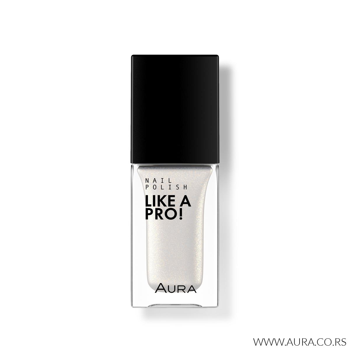 Lak za nokte Like a PRO! 101 White With Gold Shimmer